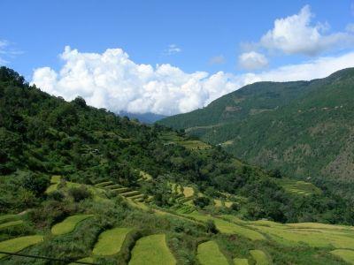 Bhutanesische Landschaft, Bhutan, Himalaya, positive nachrichten, vollstaendig biologisches land