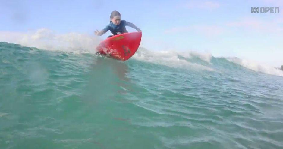 Sechsjaehrige Surferin, Quincy, positive nachrichten